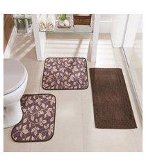 kit tapete de banheiro floral 3 peças antiderrapante café