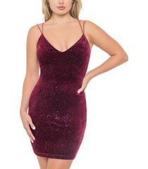 b darlin juniors' glitter velvet strappy-back dress