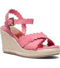 selanas-metallic esp sandalette med klack espadrilles rosa ted baker