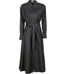 brunello cucinelli denim long belted dress