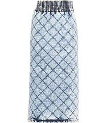 miu miu quilted denim midi skirt - blue