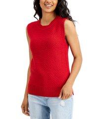tommy hilfiger cotton basket-weave-knit tank top