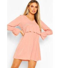 oversized gesmokte jurk met geplooide taille, blush