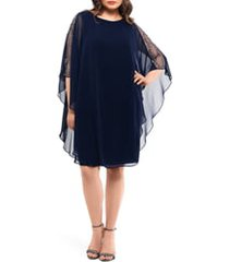 plus size women's xscape chiffon overlay beaded sleeve cocktail dress, size 14w - blue