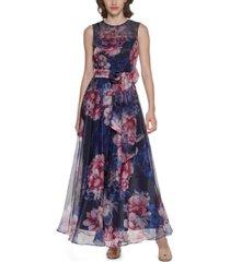 eliza j floral-print chiffon jumpsuit