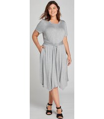 lane bryant women's tie-front fit & flare dress - gray 22/24 gray