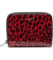 saint laurent animal-print compact zip wallet - red