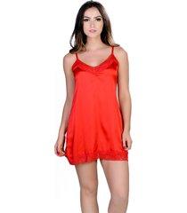 camisola curta  yasmin lingerie silk satin vermelho - vermelho - feminino - dafiti