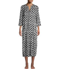 donna karan women's geometric-print split neck nightgown - black multi - size m
