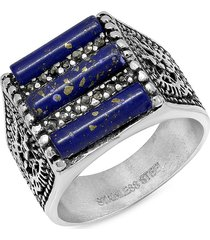 anthony jacobs men's stainless steel, blue lapis & gray faux-diamond ring - size 10