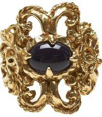 chanel coco mark b11 a ring gold, black sz:
