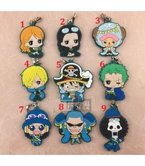 anime one piece luffy zoro law keychain figure rubber strap charm cosplay gift