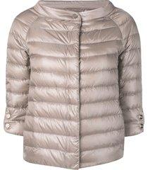 herno 3/4 sleeve padded jacket - neutrals