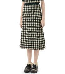 women's gucci houndstooth jacquard cashmere & silk midi sweater skirt