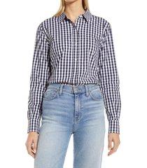 women's halogen classic poplin button-up shirt, size medium - blue