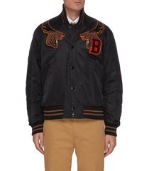 deer head back logo jacquard baseball jacket