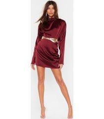 womens in a ruche satin mini skirt - burgundy