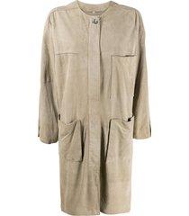 a.n.g.e.l.o. vintage cult 1980s suede midi coat - neutrals