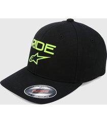 gorra negro-verde alpinestars