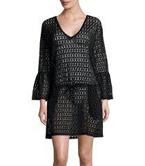 calvin klein women's bell-sleeve crochet cover-up - soft white - size s/m