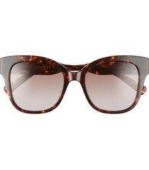 women's rebecca minkoff martina 52mm cat eye sunglasses - dark havana/ brown