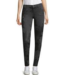 embossed print skinny jeans