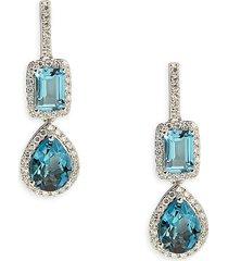 effy women's 14k white gold, london blue topaz & diamond dangle drop earrings