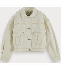 scotch & soda cotton twill trucker jacket