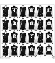 kpop exo baseball uniform luhan xiumin baekhyun chanyeol kris do jacket/coat