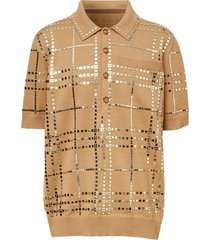 burberry mirrored check jersey polo shirt - neutrals