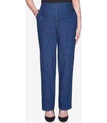 alfred dunner pull on back elastic proportioned denim jean pant