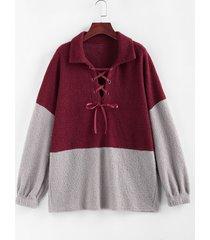 plus size colorblock lace up teddy sweatshirt