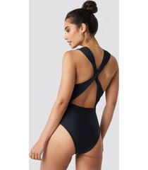 hannalicious x na-kd wide straps cross back swimsuit - black