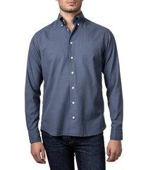men's eton contemporary fit soft casual flannel button-down shirt, size 15 - blue