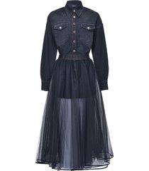 pinko shirt-detail flared dress - blue