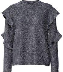 long sleeves lurex top with ruffles blouse lange mouwen grijs scotch & soda