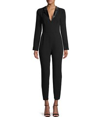 notched long-sleeve jumpsuit