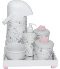 kit higiene espelho completo porcelanas, garrafa e capa nuvem rosa quarto beb㪠menina - rosa - menina - dafiti