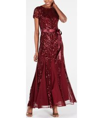 r & m richards sequin-embellished pleated gown