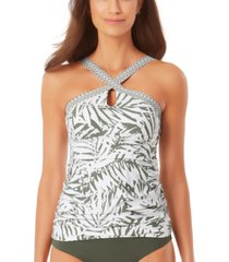 anne cole palm breeze high-neck keyhole tankini top women's swimsuit