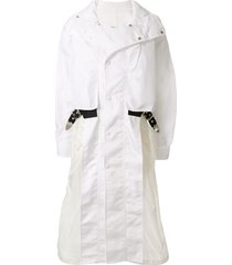 toga buckle detail parka coat - white
