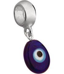 berloque joia em casa olho grego oval prata