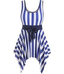 stripes knotted handkerchief plus size swimsuit dress
