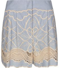 alberta ferretti perforated panel embroidered shorts
