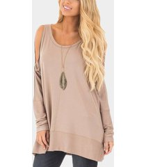 beige cold shoulder cut out round neck long sleeves t-shirt
