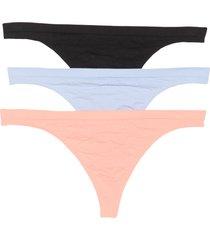 women's honeydew intimates keagan 3-pack thongs, size x-large - black