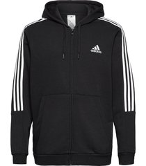 essentials fleece cut 3-stripes track jacket hoodie trui zwart adidas performance
