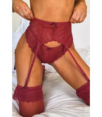 fan lace suspender thong & stocking set, wine