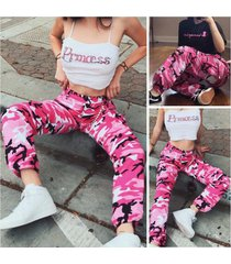 women's fashion pants pink camouflage frock jeans casual trousers ankle banded p
