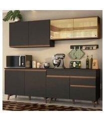 cozinha completa madesa reims 240001 com armário e balcão preto/rustic preto/rustic